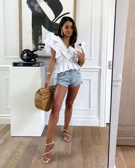 Summer outfit ideas  Goodnight Macaroon outfit  Use code MARIA40 for 40% off Pearl sandals run TTS   #LTKunder50 #LTKsalealert #LTKunder100