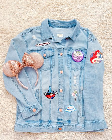 Spring denim Jean jacket Disney DIY tutorial! Shop all of these Disney iron on patches to style your very own denim jacket with all of your favorite characters and attractions from Walt Disney World! Jean jackets are perfect to wear year round in Florida because they're not super hot so you can definitely style them at the parks! I'm also sharing a few Disney accessories I styled mine with!✨This is also a great way to shop small! http://liketk.it/3ga1e #liketkit  S @liketoknow.it #LTKfamily #LTKkids #LTKcurves