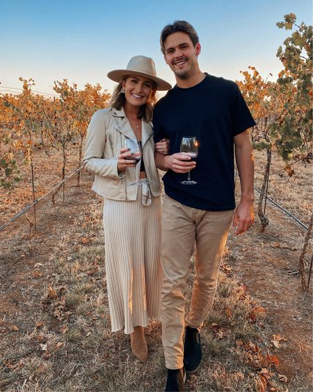 His and hers winery outfit 🤍 Wearing all beige tones and love it. Linking my midi skirt + faux leather jacket find from Walmart! Also linking Josh's men's outfit. http://liketk.it/31hPM @liketoknow.it #liketkit #LTKFall #LTKmens #LTKunder100