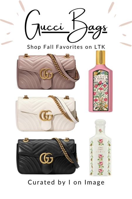 """Iconic Gucci double G-logo Marmont small matelassé shoulder bag  with chain strap 👜💗🤍🖤  Available in dusty pink, white and black -and MORE!  Feminine fall fragrances: Gucci Flora Gorgeous Gardenia eau de partum 100ml and Fading Autumn scented water """"aqua profumate"""" 150ml from The Alchemists Garden collection 🌸  Chain bag, chic bag, stylish bag, ladylike bag, Gucci bag, designer bag, logo bag, structured bag, multiway bag, chevron bag, quilted bag, Gucci Marmont, logo bag #LTKfashion #LTKeurope    #LTKitbag #LTKstyletip #LTKworkwear"""