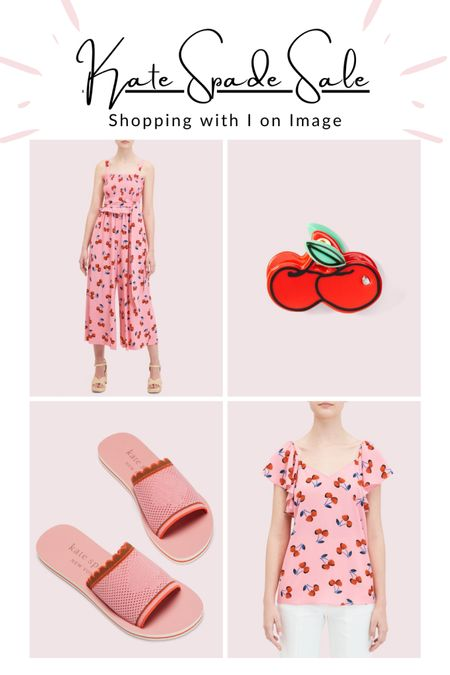 Very cherry sale picks from Kate Spade summer collection 🍒🍒🍒 Jumpsuit and flutter sleeve top with cherry print, fun cherry hair clip and knitted pool slides 🍒🍒🍒  #LTKeurope #LTKstyletip #LTKsalealert