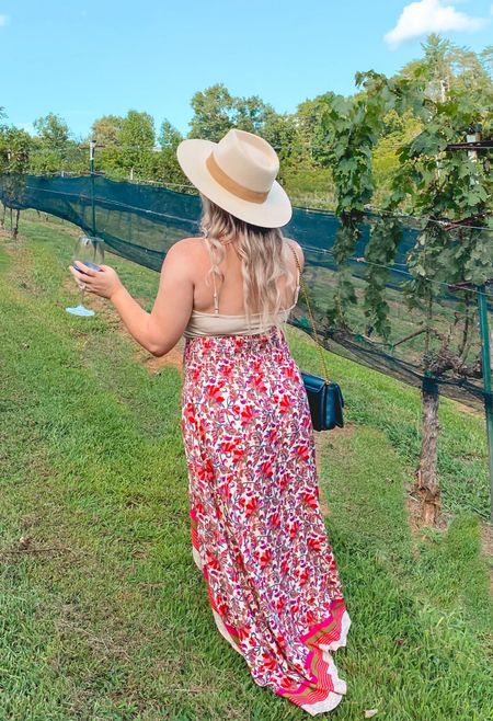 Winery outfit summer beach boho skirt wide brim hat