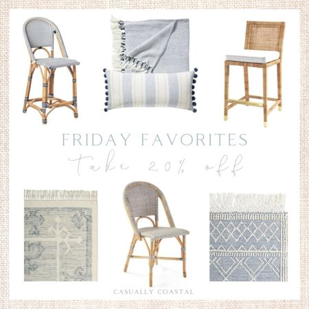 """Use code """"NEWSEASON"""" to take 20% off your entire order at Serena & Lily right now (a few exclusions apply, including gift certificates, artwork and clearance items). Here are a few of my favorites, including one of the rugs I recently ordered for our hallway (bottom left), which should arrive next week! - coastal decor, beach house decor, beach decor, beach style, coastal home, coastal home decor, coastal decorating, coastal interiors, coastal house decor, home accessories decor, coastal accessories, beach style, blue and white home, blue and white decor, neutral home decor, neutral home, natural home decor, serena & lily, serena and lily, serena & lily sale, serena & lily rugs, serena and lily rugs, living room rugs, bedroom rugs, coastal rugs, rectangle rugs, rectangular rugs, blue and white rugs, rugs with blue, 5x7 rugs, 6x9 rugs, 9x12 rugs, 11x14 rugs, 12x18 rugs, 4x6 rugs, rugs with fringe, living room, wool rugs, living room rugs, bedroom rugs, entryway rugs, hallway rugs, large rugs, small rugs, cream rugs, textured rugs, neutral rugs, coastal runners, serena & lily runners, high-quality rugs, beach house rugs, Coastal rugs, kitchen runners, neutral runners, rugs on sale, throw blankets, linen throws, linen throw blanket, textured throws,  coastal dining chairs, coastal dining room furniture, coastal counter stools, coastal bar stools, furniture sale, riviera dining chair, bistro chairs, rattan dining chairs, neutral dining chairs, woven dining chairs, side chairs, armchairs, dining room side chairs, rattan bar stools, rattan counter stools, serena & lily counter stools, riviera counter stool, riviera bar stool, bistro stools, rattan stools, coastal kitchen, white kitchen, rattan furniture, entertaining, balboa counter stool, balboa stools, furniture sale, pillow covers on sale, blue and white pillows, blue and white striped pillow covers, serena & lily pillow covers  #LTKfamily #LTKsalealert #LTKhome"""