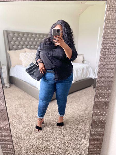 Plus size outfit idea, fall outfit, plus size satin button down shirt, medium wash Ava & Viv jeans, fur heels, Rebecca Minkoff Edie tote  #LTKstyletip #LTKcurves