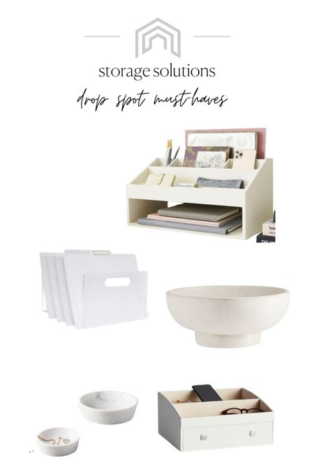 """Talking about keeping your home """"show-ready"""" on the blog! If you've ever sold a home, you know how hard that is! Here are some of my favorite things to use in your drop spot! This will keep everything in its place so there's less to worry about when you have to get out of the house. These look great all look great on kitchen counters , in mudrooms, and on the foyer table! #liketkit http://liketk.it/3f3aP @liketoknow.it #LTKunder50 #LTKunder100 #LTKhome #neutraldecor #storage #storagebins #storagesolutions #declutter"""