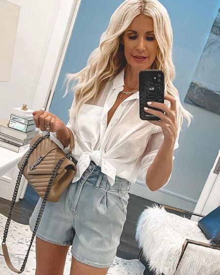 SALE ALERT - This effortlessly chic white button down and these slimming denim shorts are both on sale making them each under $50! They both run tts, I'm wearing a small in the shirt and a zero in the shorts. @liketoknow.it #liketkit http://liketk.it/3hraK #LTKunder100 #LTKunder50 #LTKsalealert Shop my daily looks by following me on the LIKEtoKNOW.it shopping app