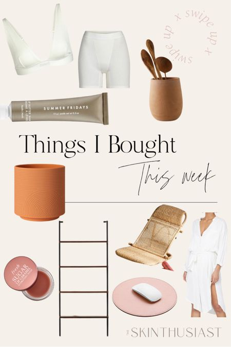 #liketkit @liketoknow.it http://liketk.it/38TSf bookshelf | ceramic planter | lip balm | shapewear | loungewear | rattan beach chair | white linen dress