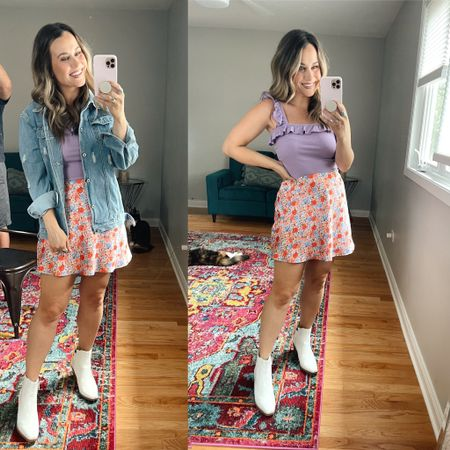 Amazing finds! This purple top is perfect for summer, it's under $20! Wearing a size medium. This oversized jean jacket is another amazon faAlso linked this floral skirt and white booties are a wal mart find!   #LTKshoecrush #LTKstyletip #LTKunder50