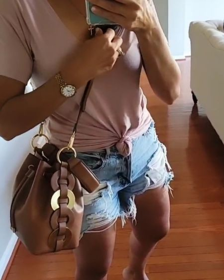 V-neck tee in small and denim shorts in size 4. http://liketk.it/3g6kp @liketoknow.it #liketkit