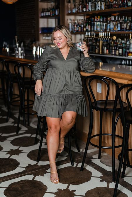 Cocktails on a Tuesday yes please!  Loving this dress comes in green and black wearing a size large.  Long sleeve tiered dress   #LTKcurves #LTKsalealert #LTKunder50