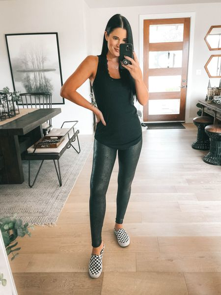 Spanx just launched new faux leather leggings and I'm OBSESSED with these faux leather matte snake leggings! I wear the size small  Use code DTKxSPANX for 10% off your entire order! I linked my layering tank (I wear a large) and I linked my vans checkered mules too!   #LTKunder100 #LTKsalealert #LTKstyletip