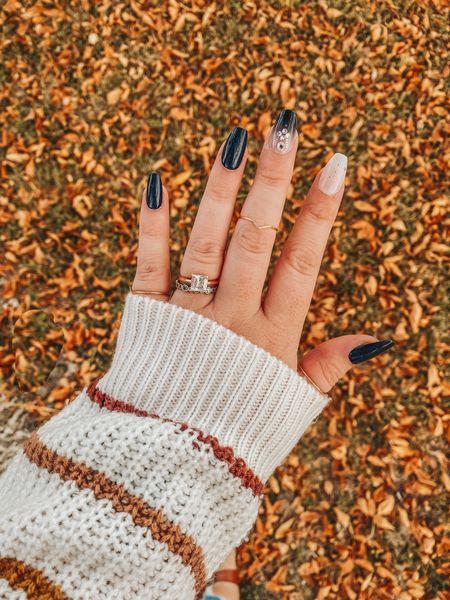 Fall nails, coffin nails, impress manicure, press on nails, at home manicure, shein sweaters, gold rings, dainty rings.     #LTKsalealert #LTKbeauty #LTKSeasonal