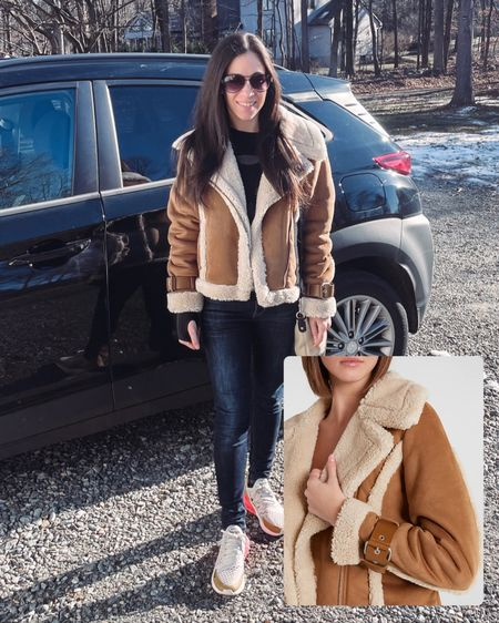 Back in stock & 30% off, this Sherpa and suede jacket with sleeve buckles is a great holiday gift for her.   #LTKGiftGuide #LTKHoliday #LTKsalealert