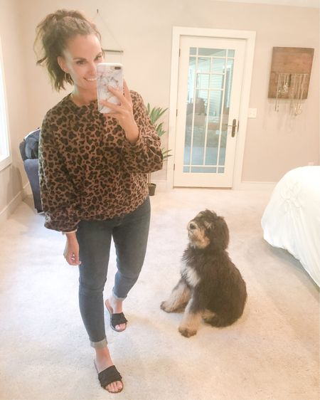 What a week the last two days have been!! It was so great seeing students and getting back to teaching, I feel like myself again, huge Monica humid air and all! Tossed on this leopard crew neck sweatshirt tonight and sandals and it just reminded me how much I LOVE fall transition clothes!!   http://liketk.it/2Vs3T #liketkit @liketoknow.it