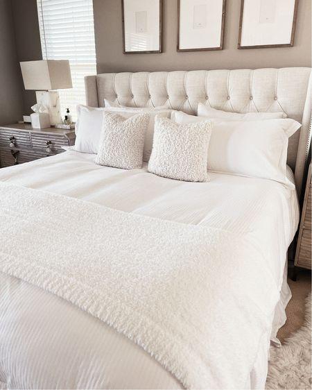 Master bedroom, white bedding, neutral home decor, simple home decor, StylinAylinHome  #LTKunder100 #LTKstyletip #LTKhome