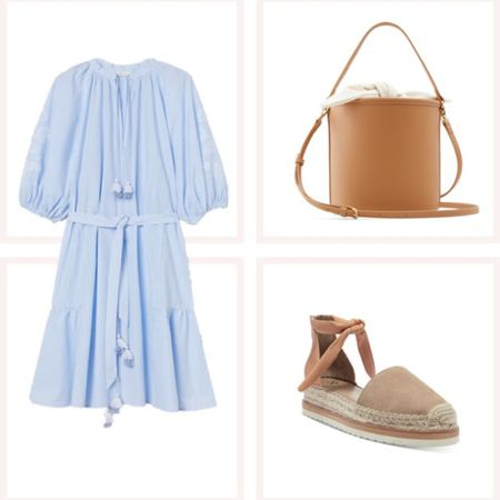 Blue flowy dress and the cutest tan suede espadrilles with a tie at the ankle! @liketoknow.it #liketkit #LTKunder50 #LTKunder100 http://liketk.it/3edvC