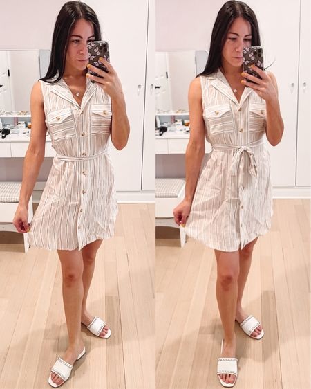 Striped tie dress with a cute collar detail. This is perfect for any summer event, a family party, bbq, or even a work lunch. It's under $50 and lightweight material. You can tie it around the waist for a more flattering fit.   #LTKworkwear #LTKSeasonal #LTKunder50