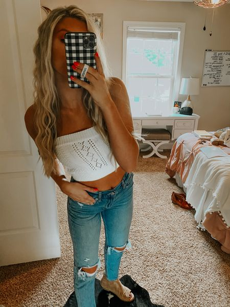 summer outfit of the day! denim, crop top, and beach waves hair! 🌞 #LTKfit #LTKhome #LTKunder50 http://liketk.it/3gNAn #liketkit @liketoknow.it Download the LIKEtoKNOW.it shopping app to shop this pic via screenshot
