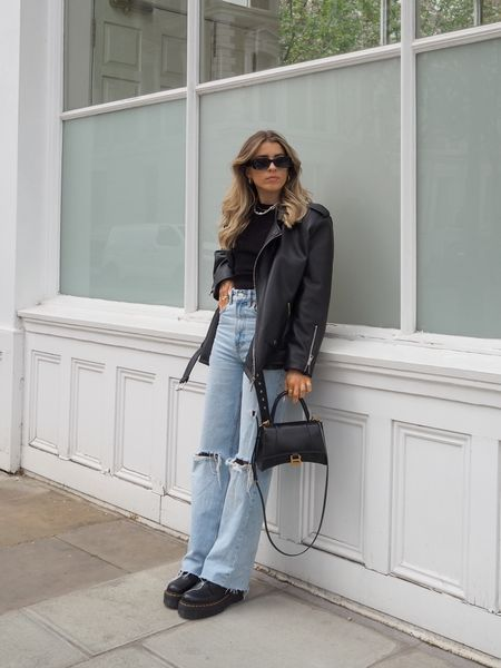 Oversized leather jackets and wide leg jeans are such an easy go to look     #LTKSeasonal #LTKeurope