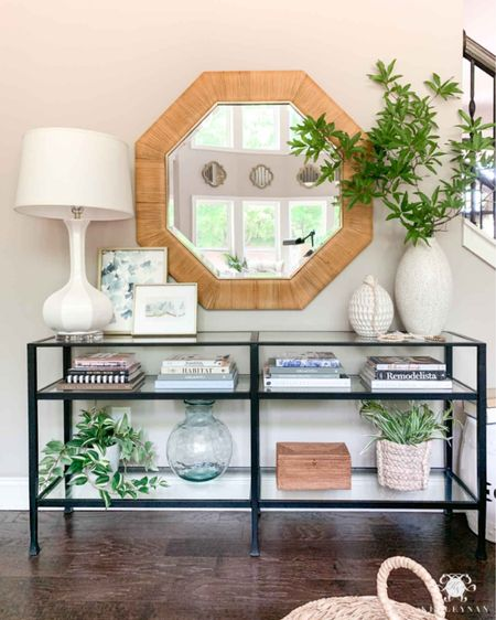 Living room console table styling for fall. Home decor fall decor white lamp large vase small art coffee table books   #LTKSeasonal #LTKstyletip #LTKhome