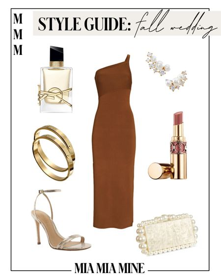 Fall wedding guest dresses - one shoulder dress, Schutz gold heels, cult Gaia clutch, brown dresses   #LTKstyletip #LTKHoliday #LTKwedding
