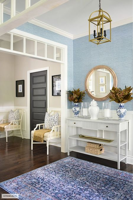 Fall entryway home decor in layers of blues and warm seasonal colors  #LTKSeasonal #LTKhome #LTKstyletip
