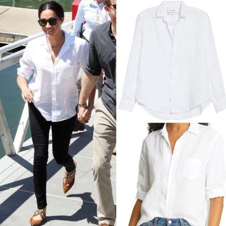 Meghan wearing Frank & Eileen shirt #buttonup #travel #work  #LTKworkwear #LTKtravel