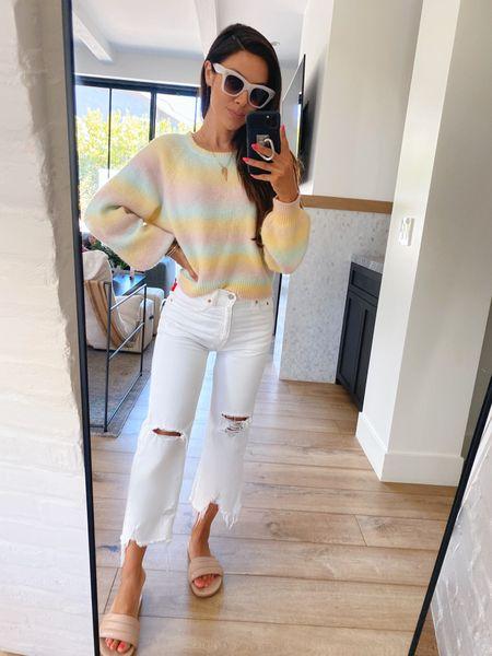 White jeans and colorful knits for spring please @liketoknow.it #liketkit http://liketk.it/3fViK #LTKunder100 #LTKstyletip #LTKshoecrush