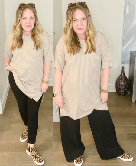 Long ribbed tee from H&M, wide leg pants, skinny jeans, leopard sneakers   #LTKunder50 #LTKworkwear #LTKstyletip