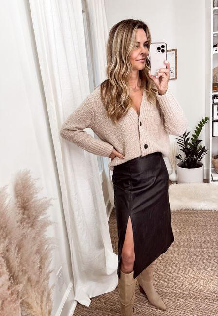 New faux leather midi skirt by Spanx! Leather-like fabric gives you the structured look of a true leather skirt!! Discount Code:FashionedlifeXSpanx  Rag n bone sweater - sold out but similar style linked. Slouchy suede boots, Her fashioned life   #LTKSeasonal #LTKstyletip