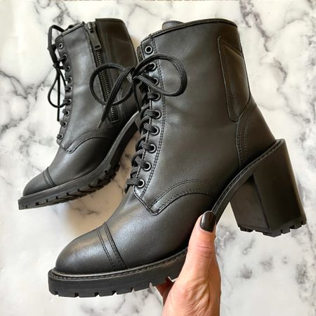 These combat boots have a slight heel and go with everything #combatboots #blackboots #fallboots #falloutfits #booties #ankleboots  #LTKshoecrush #LTKSeasonal #LTKstyletip