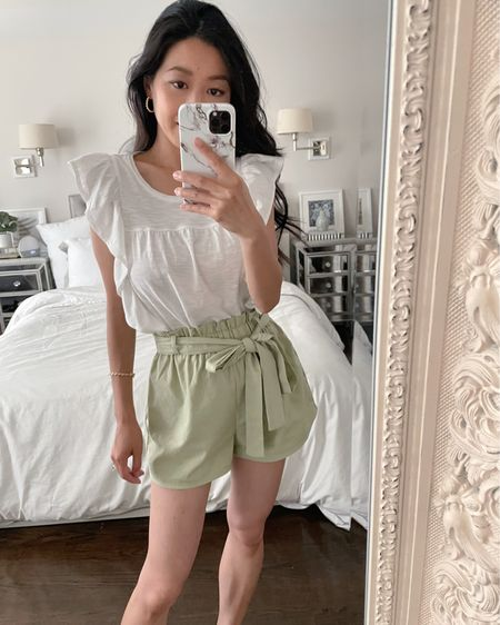 Casual summer outfit - Lightweight ruffled elevated tee shirt xxs (looser fit, tucked into shorts). Would love this top with this outfit in black too for a chic and very low maintenance outfit!   lulus tie waist shorts xs - very cute, length and rise are petite friendly and comes in other colors. http://liketk.it/3hq1u #liketkit @liketoknow.it #LTKunder50 #LTKstyletip