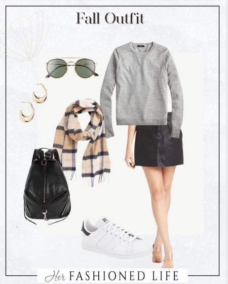 Fall outfit, mini skirt, plaid scarf, old school sneakers, classic minimal style    #LTKunder100 #LTKstyletip #LTKGiftGuide