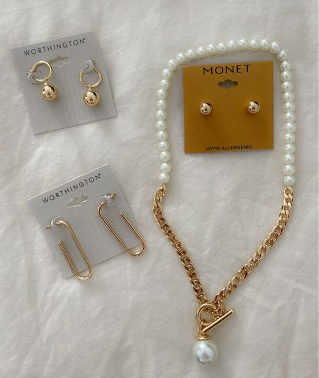 Loving these jewelry pieces I found at #jcp! #jewelry #goldearrings #necklace #earrings     #LTKunder50