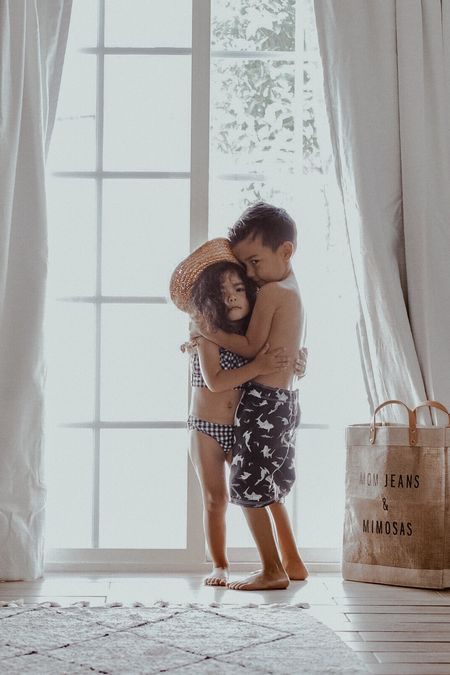 Morning snuggles>afternoon struggles 👧🏽👦🏽6.15.18 Happy Friday! Screenshot this pic to get shoppable product details with the LIKEtoKNOW.it app and shop my kids swim + this awesome @apolis bag! Also, for 24 hours only, use code: momjeansandmimosas for free US ground shipping on your customized bag! I couldn't think of what to write so I'm shamelessly shouting myself out every time I go grocery shopping. 😳 what will you write? #mjandmkids @liketoknow.it #liketkit http://liketk.it/2w9YD #LTKunder50 #LTKfamily @liketoknow.it.family