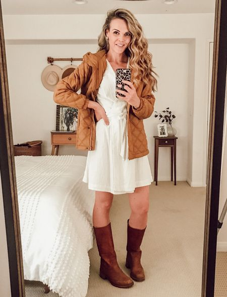 Light-weight puffer jacket (fits TTS) made from recycled materials. Toffee shade. Dress it up over a wrap dress + boots for fall. #fallstyle #momstyle #dressedup  #LTKSeasonal
