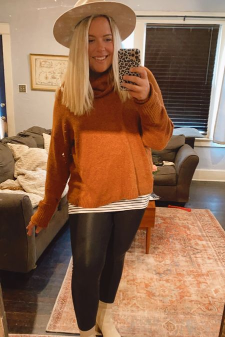 Found this sweater last year during the Nordstrom Anniversary sale but found an IDENTICAL one that comes in this color, black and grey! Spanx faux leather leggings are on on SALE! A true closet staple. Fall sweater, cowl neck, Nordstrom sweaters, Steve Madden Chelsea booties   #LTKstyletip #LTKsalealert #LTKunder100