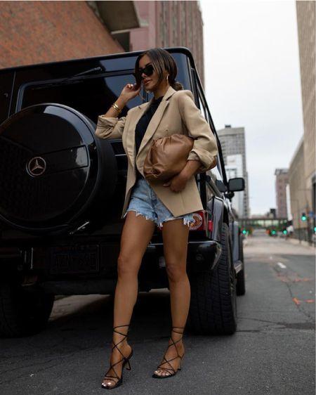 Summer outfit  Anine Bing blazer Levi's denim shorts Marc Fisher lace up heels   #LTKunder100 #LTKshoecrush #LTKstyletip