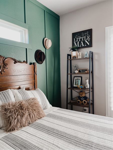 Toddler boys room decor  Green room decor  Striped bedspread for boys  Guest bedroom   #LTKfamily #LTKkids #LTKhome