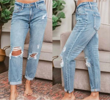 Jeans, ripped jeans, distressed jeans, mom jeans, boyfriend jeans, fall outfit, fall clothing, fall outfit inspo, denim, denim pants, light wash jeans  #LTKstyletip #LTKunder100 #LTKsalealert