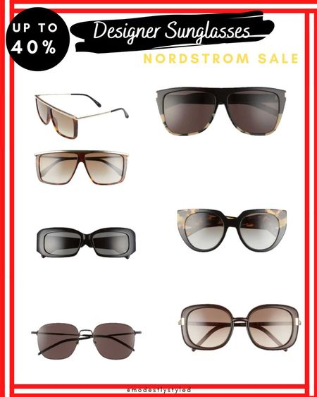 Nordstrom's half year sale is kicking it bit this year. Check out these super designer sunglasses that are up to 40% off. Rock your cute looks with one of these sunglasses. #designersunglasses #sunglasses #Nordstrom #Nordstromsale #sale #hijab #hijabfashion #40%off
