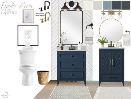 Powder room design with two vanity options! Navy blue bathroom vanities  #LTKhome