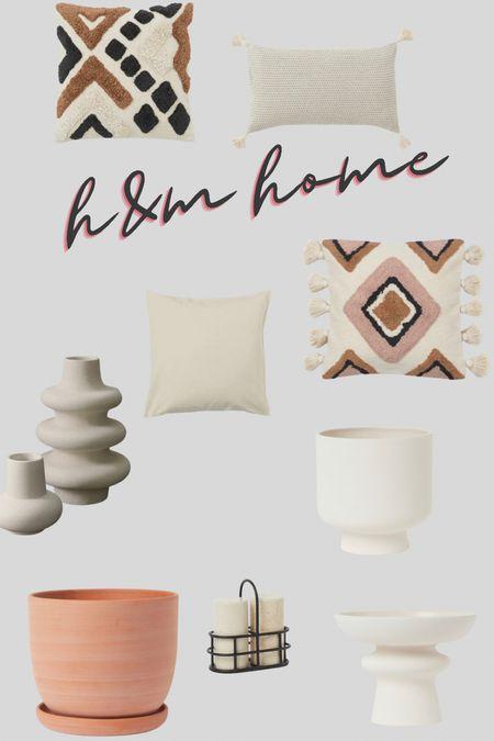 H&M home decor for bedroom and living room. Stoneware vase, pattern pillow covers, terracotta planter, ceramic vase, donut vase, trendy vase. Beige home decor   #LTKfamily #LTKhome