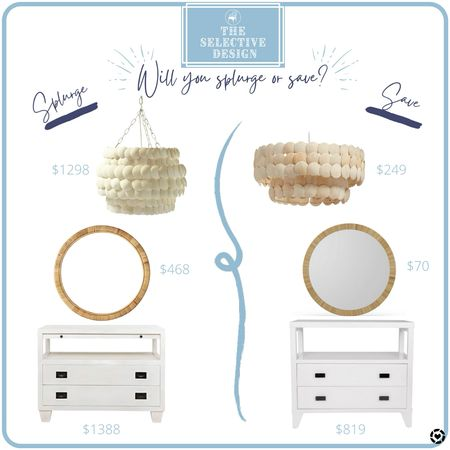 Will you splurge or save? Here are some fun splurges and saves to shop! #nightstand #lighting #mirror  #LTKsalealert #LTKstyletip #LTKhome