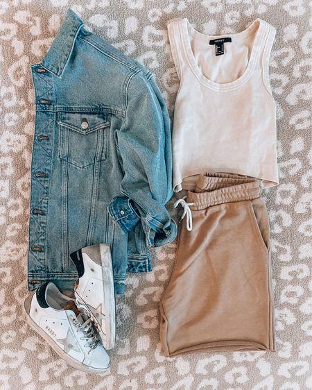 Casual summer #ootd💕 Denim jacket, crop tank and sweatshorts http://liketk.it/3i1cL @liketoknow.it #liketkit #LTKstyletip