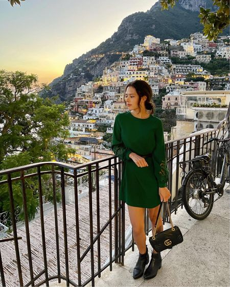 A night out in Positano! This long-sleeve mini dress was perfect for drinks and dinner on our trip. This lovely shade of emerald green is always a chic choice 💚 The Gucci Marmont bag can be easily dressed up for evening attire (mine is the small size).   #LTKitbag #LTKstyletip #LTKtravel