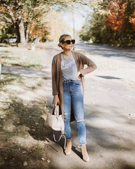 Graphic tee (S), long cardigan (M), distressed jeans (27. Size up), booties  #LTKSeasonal
