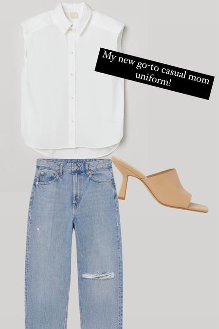 Hm new arrivals! Just ordered these basics! Love the jeans and the white sleeveless exaggerated shoulder detailed button up top and slide on heels! http://liketk.it/3ci3g #liketkit @liketoknow.it #LTKunder50 #LTKunder100 #LTKstyletip