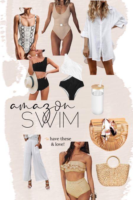 Amazon swim // one piece // two piece // coverup // hat // beach bag // pool // amazon find // http://liketk.it/3hWMg  @liketoknow.it #liketkit #LTKunder50 #LTKswim #LTKstyletip