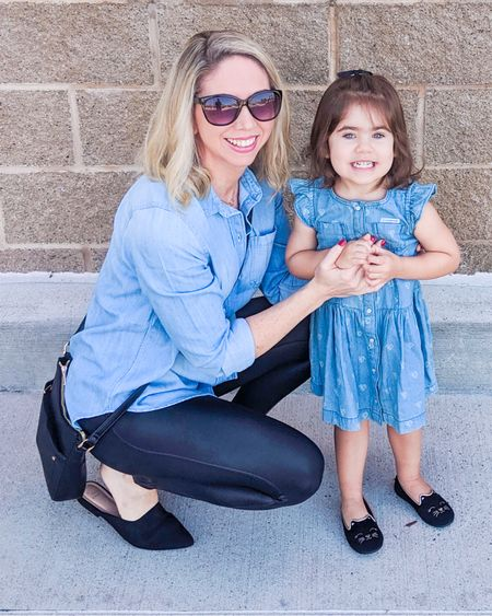 Mommy and me outfit idea for fall!          Fall outfit , matching outfits , matching family , mommy and me , chambray , faux leather leggings , leggings outfit , spanx leggings , casual style , #ltkunder100 #ltkstyletip #ltkshoecrush #ltkworkwear #ltkitbag  #LTKSeasonal #LTKkids #LTKfamily